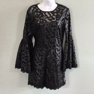 Black Leather Look Cut Out Romper Dress Size M